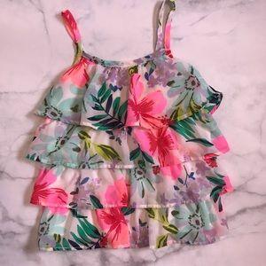 Ruffled flowered pattern little girl shirt size 6